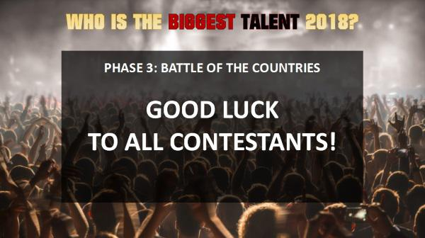 Good luck to all contestants